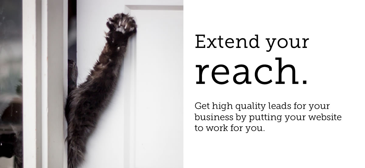 Extend your reach. Get high quality leads for your business by putting your website to work for you (photo of cat paw reaching through a door crack)