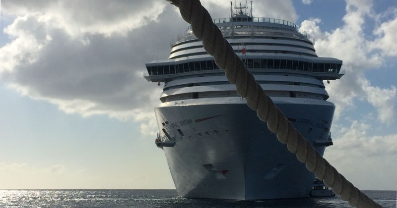a cruise ship docked offshore during our family vacation in 2016